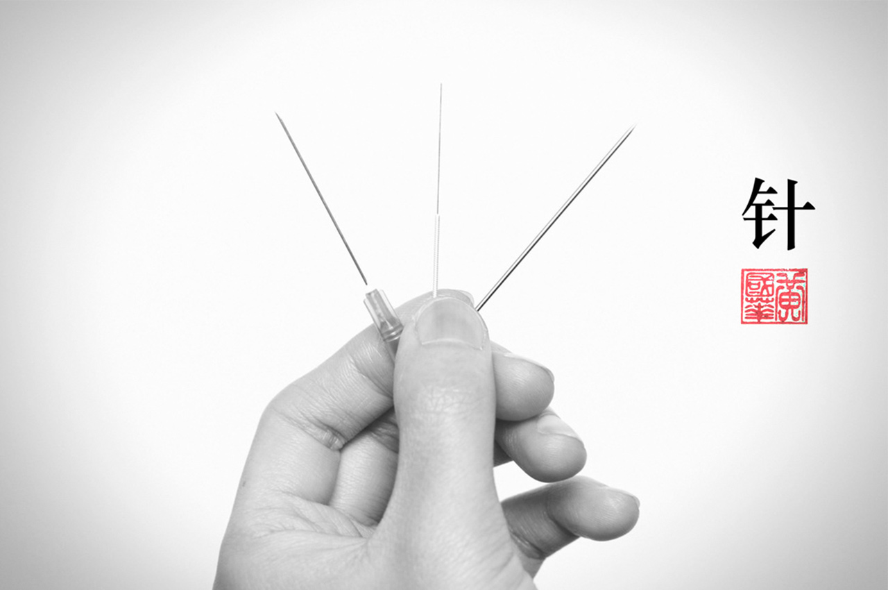 Acupuncture needle comparison to IV drip needle on the left, and sewing needle on right.
